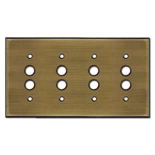 4 Push Button Light Switch Plates - Antique Brass