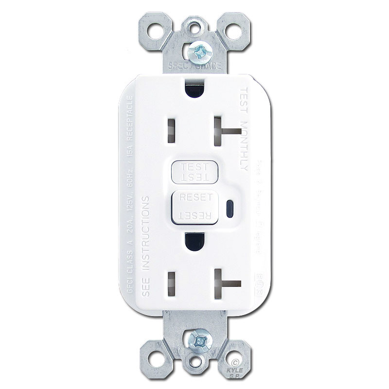 White 20 Amp Tamper Proof GFCI Receptacles