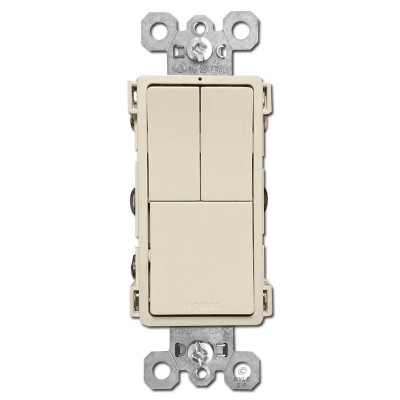 triple switch dual single pole s p or 3 way light almond