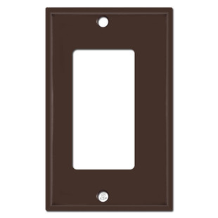 Half Trimmed 1/8'' Offset Decor Rocker Outlet Cover - Brown