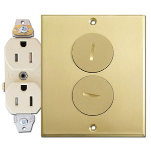 15A Leviton Duplex Receptacle Floor Box Assembly, Brass Cover Plate