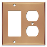 Duplex Outlet Rocker Cover Plate - Polished Copper