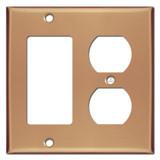 Duplex Outlet Rocker Cover Plate - Polished Copper