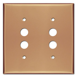 Push Button Double Switch Cover Plate - Polished Copper