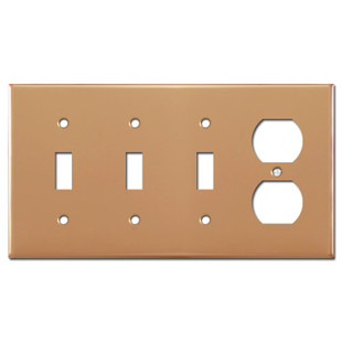3 Toggle 1 Duplex Outlet Electrical Plate - Polished Copper
