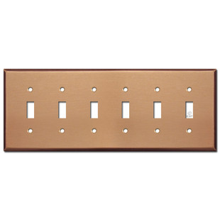 6 Toggle Switch Face Plate - Brushed Copper