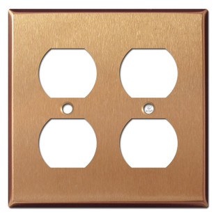 4 Electrical Socket Cover Plate - Brushed Copper