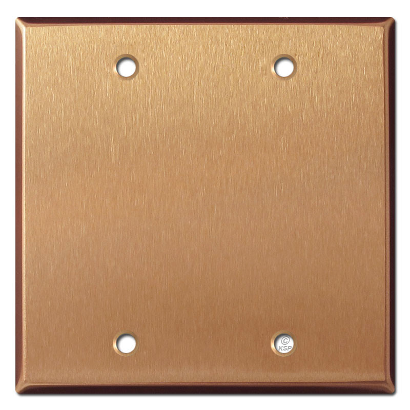 2 Blank Electrical Faceplate Brushed Copper Kyle Switch Plates