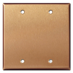 2 Blank Electrical Faceplate - Brushed Copper