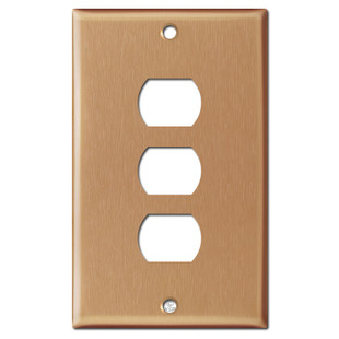 3 Despard Stacked Switch Face Plate - Brushed Copper