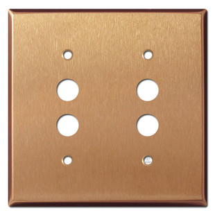 2 Pushbutton Electrical Switch Wall Plate - Brushed Copper