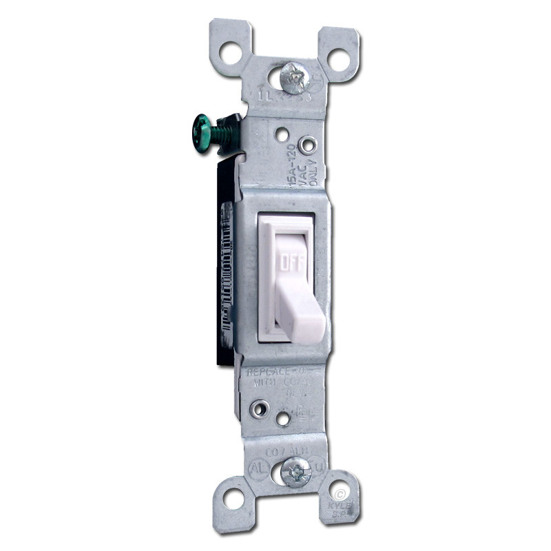 White Toggle Light Switches CO/ALR for Aluminum Wiring