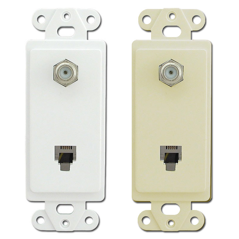 Decorator Phone and Coaxial Cable Jack Insert Pass & Seymour 26TELTV