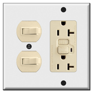 Stacked Toggle Switch + GFCI Outlet Covers (switches not included)