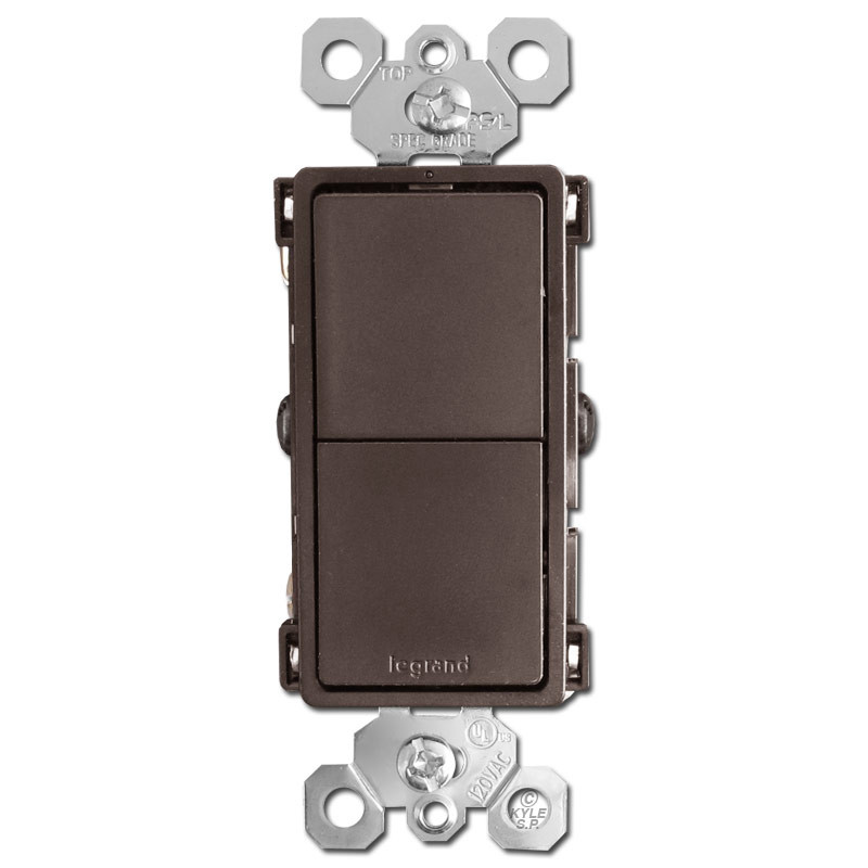Stacked Rocker Switches Single Pole or 3-Way - Brown