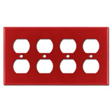 4 Duplex Electrical Receptacle Cover Plate - Red