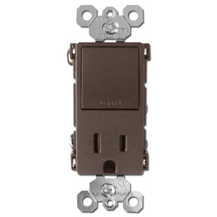 Dual 3-Way Rocker Switch + Receptacle 15A - Brown