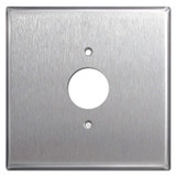 "Oversized 2-Gang Middle 1.4"" Outlet Cover Plate - Stainless Steel"