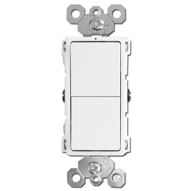 Rocker Light Switch >> Double Stacked Rocker Light Switches White