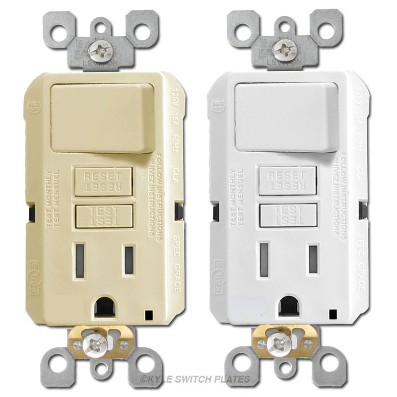 Switch + GFCI Outlet 15A Leviton Decora GFSW1 | Kyle Switch Plates