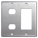 Decor GFCI + 2 Despard Switch Wall Plate - Stainless Steel