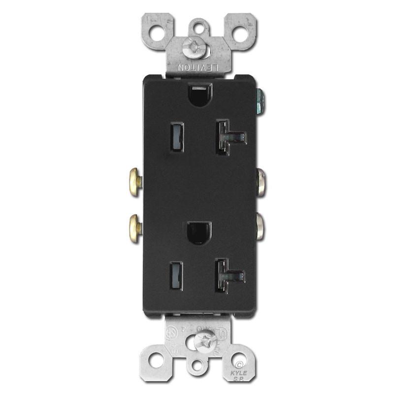 Black 20a Electrical Outlet Tamper Resistant Leviton Decora