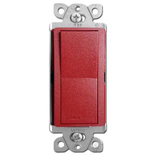 Satin Red Rocker Light Switch - Lutron Hot