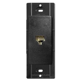 Satin Black Phone Jack Wall Plate Insert - Lutron Midnight