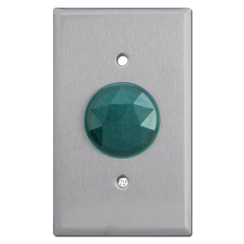 Green Circular Faceted Jewel for Pilot Lighted Wall Switch Plate Hole