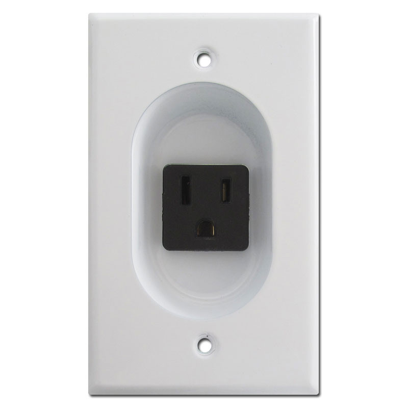 White 15A Recessed Outlet for Flat Panel TV | Kyle Switch Plates
