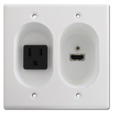 White Recessed 15A Receptacle / Hi Def HDMI Connection Port