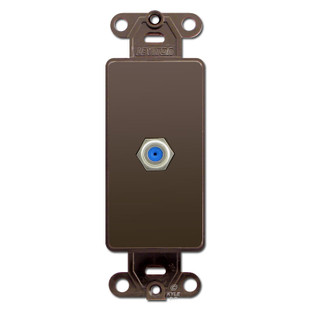 Brown Wall Plate Insert With Decora Cable Coaxial Jacks Lev on Leviton Decora Phone Jack Wall Plate