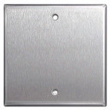 Center Mount 2-Gang Blank Wall Plate Cover - Stainless Steel