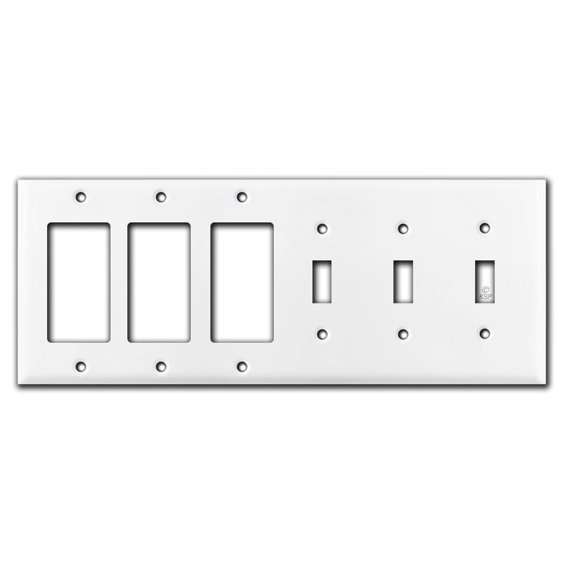 3 Decor Ground Fault Outlet 3 Toggle Light Switch Covers