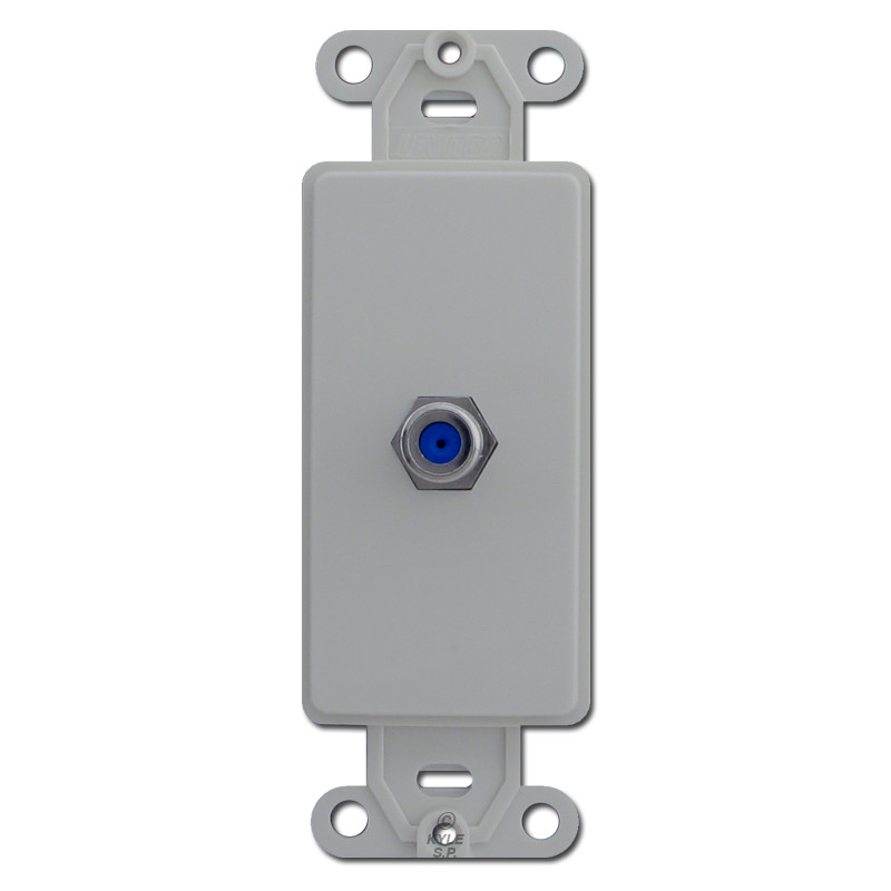 gray wall plate insert with decora cable coaxial jack