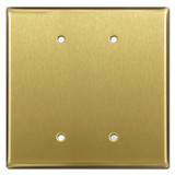 Oversized 2 Blank Wallplate Cover - Satin Brass