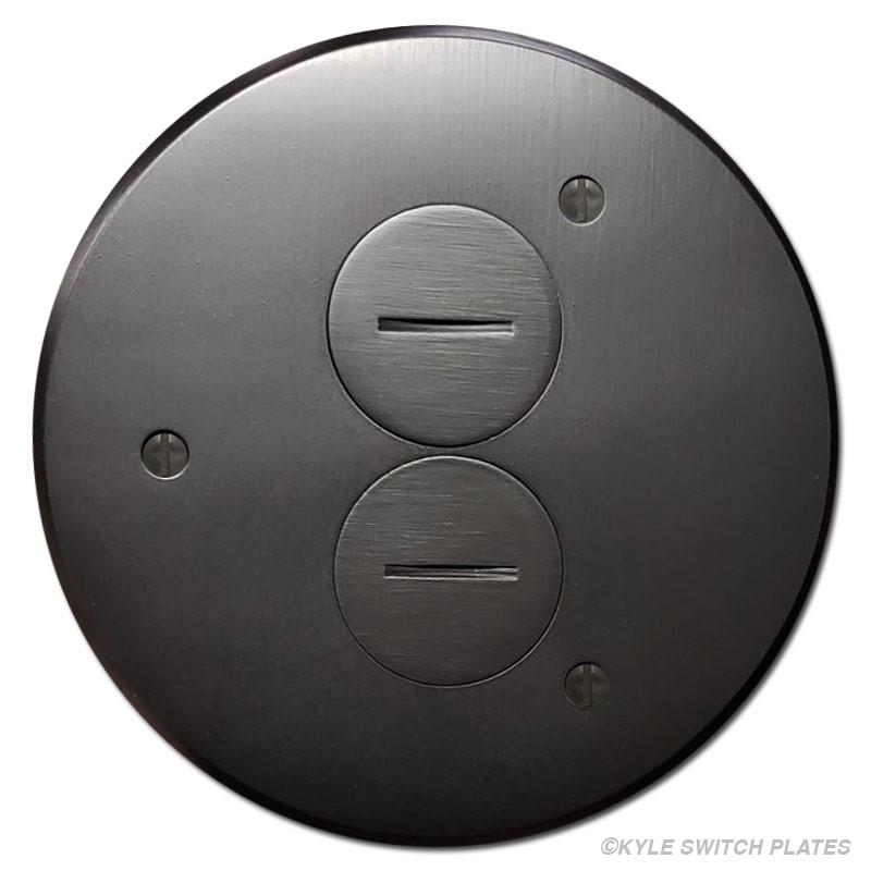 Round In Floor Duplex Outlet Box Cover Dark Bronze