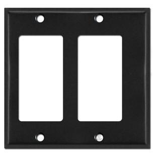 Narrow Offset 2 Decor Outlet Switch Wallplate - Black
