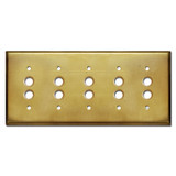 5 Push Button Light Switchplate - Raw Unfinished Brass