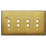 4 Push Button Light Switch Plate - Raw Brass