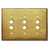 3 Gang Push Button Light Switch Cover - Raw Brass