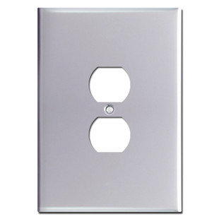 Oversized 6.38'' Duplex Receptacle Cover - Polished Chrome