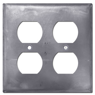 2 Duplex Outlet Cover - Raw Steel Paintable