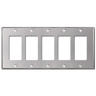 5 Decor Rocker GFI Wall Plate - Polished Stainless Steel