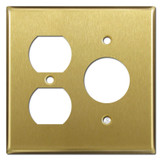 Duplex + Round Receptacle Cover Plate -Satin Brass