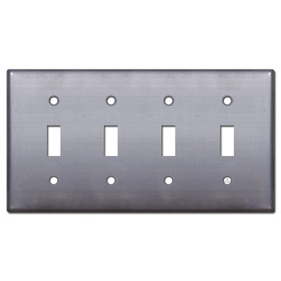 4 Toggle Switch Wallplate - Raw Steel Paintable