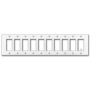 White Light Switch Plates for 10 Rocker Switches
