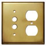 Pushbutton Outlet Cover Switchplate - Raw Brass