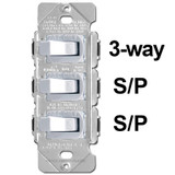 Stacked 3 Toggle Switch Set 3-Way S/P S/P White 15A Despard
