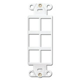 White Leviton 6 Port Frame for Modular Jack Adapters